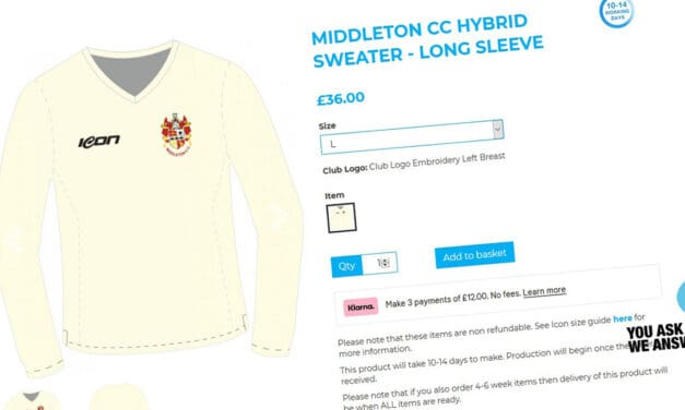 Middleton Cricket Club merchandise and kit